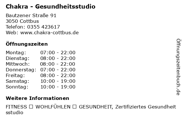 Chakra - Gesundheitsstudio in Cottbus: Adresse und Öffnungszeiten