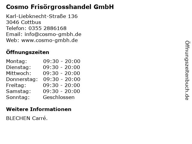 Cosmo Frisörgrosshandel GmbH in Cottbus: Adresse und Öffnungszeiten