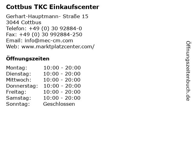 Cottbus TKC Einkaufscenter in Cottbus: Adresse und Öffnungszeiten