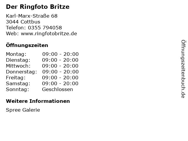 Der Ringfoto Britze in Cottbus: Adresse und Öffnungszeiten