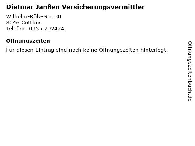 Dietmar Janßen Versicherungsvermittler in Cottbus: Adresse und Öffnungszeiten