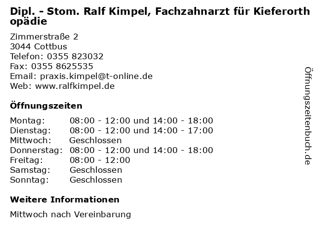 Dipl. - Stom. Ralf Kimpel, Fachzahnarzt für Kieferorthopädie in Cottbus: Adresse und Öffnungszeiten