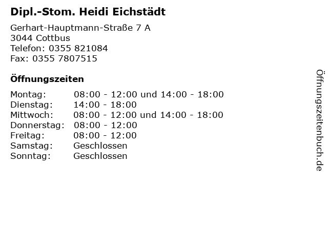 Dipl.-Stom. Heidi Eichstädt in Cottbus: Adresse und Öffnungszeiten