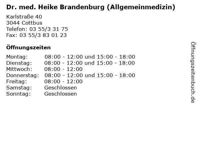 Dr. med. Heike Brandenburg (Allgemeinmedizin) in Cottbus: Adresse und Öffnungszeiten