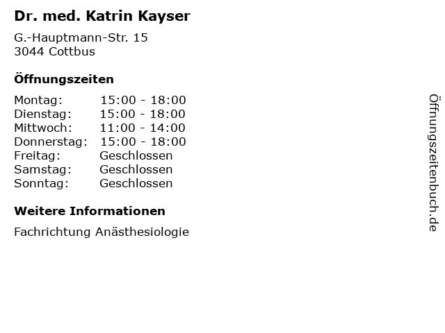 Dr. med. Katrin Kayser in Cottbus: Adresse und Öffnungszeiten