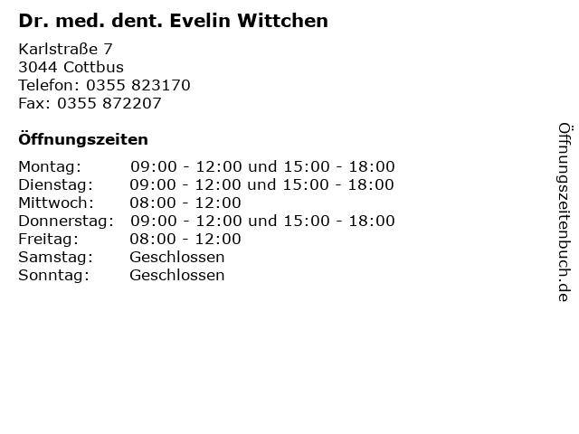 Dr. med. dent. Evelin Wittchen in Cottbus: Adresse und Öffnungszeiten