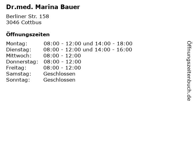 Dr.med. Marina Bauer in Cottbus: Adresse und Öffnungszeiten