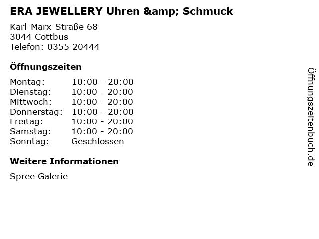 ERA JEWELLERY Uhren & Schmuck in Cottbus: Adresse und Öffnungszeiten