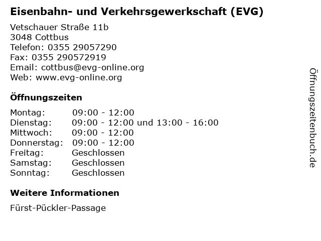 Eisenbahn- und Verkehrsgewerkschaft (EVG) in Cottbus: Adresse und Öffnungszeiten