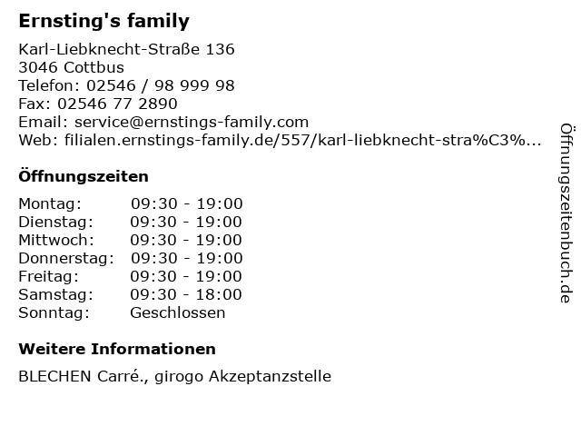 Ernsting's family GmbH & Co. KG in Cottbus: Adresse und Öffnungszeiten