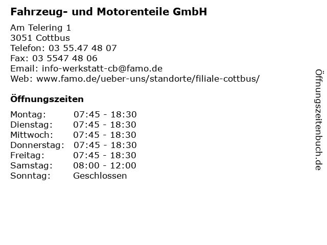 Fahrzeug- und Motorenteile GmbH in Cottbus: Adresse und Öffnungszeiten