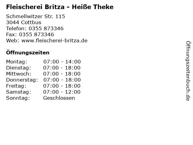 Fleischerei Britza - Heiße Theke in Cottbus: Adresse und Öffnungszeiten