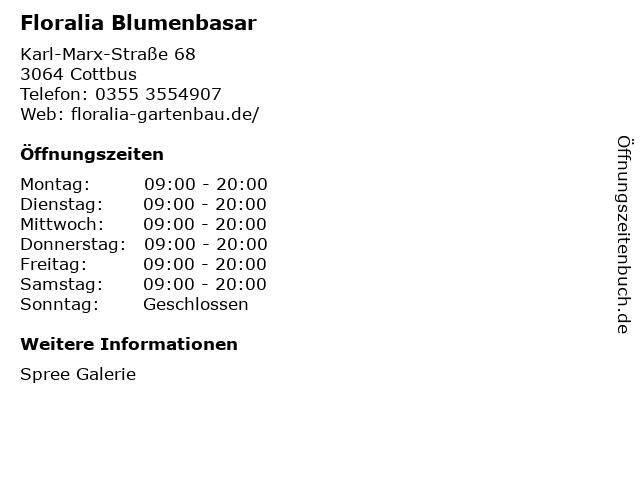 Floralia Blumenbasar in Cottbus: Adresse und Öffnungszeiten