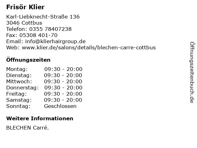 Frisör Klier GmbH in Cottbus: Adresse und Öffnungszeiten