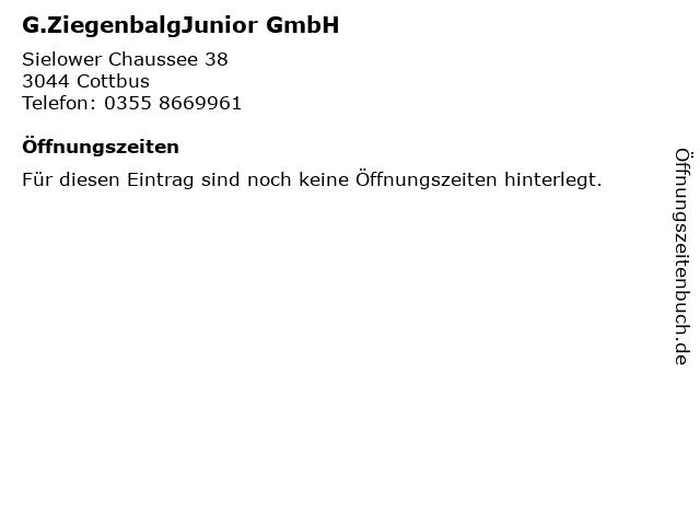 G.ZiegenbalgJunior GmbH in Cottbus: Adresse und Öffnungszeiten
