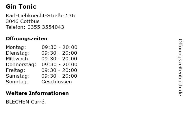 Gin Tonic in Cottbus: Adresse und Öffnungszeiten