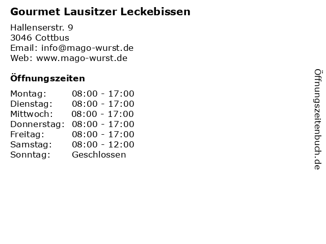 Gourmet Lausitzer Leckebissen in Cottbus: Adresse und Öffnungszeiten