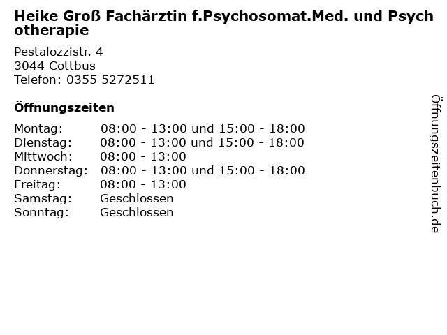 Heike Groß Fachärztin f.Psychosomat.Med. und Psychotherapie in Cottbus: Adresse und Öffnungszeiten