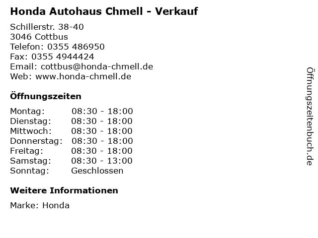 Honda Autohaus Chmell - Verkauf in Cottbus: Adresse und Öffnungszeiten