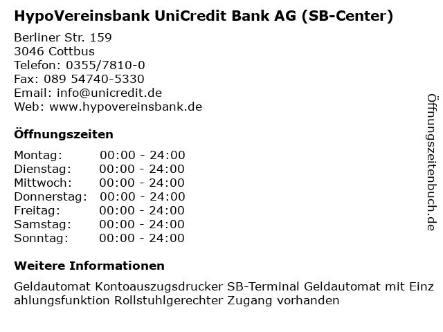HypoVereinsbank UniCredit Bank AG (SB-Center) in Cottbus: Adresse und Öffnungszeiten