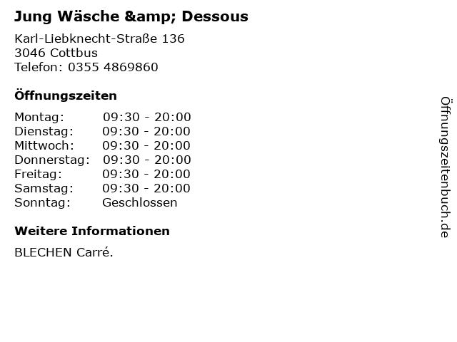 Jung Wäsche & Dessous in Cottbus: Adresse und Öffnungszeiten