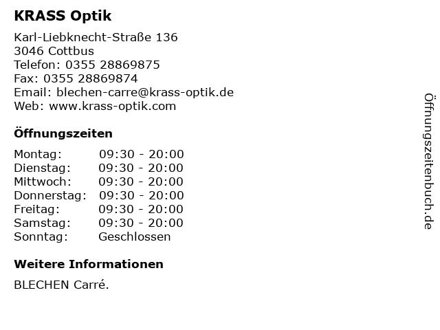 KRASS Optik in Cottbus: Adresse und Öffnungszeiten