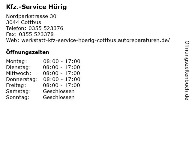 Kfz.-Service Hörig in Cottbus: Adresse und Öffnungszeiten