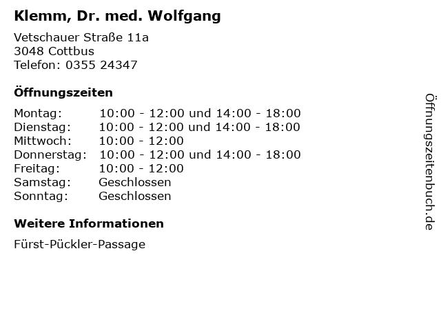 Klemm, Dr. med. Wolfgang in Cottbus: Adresse und Öffnungszeiten