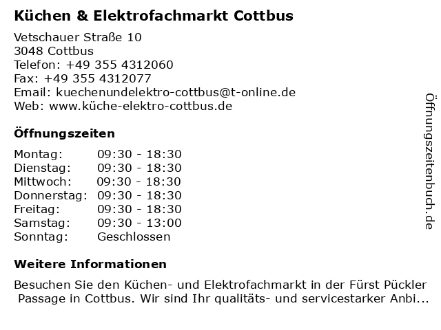 Küchen & Elektrofachmarkt Cottbus in Cottbus: Adresse und Öffnungszeiten