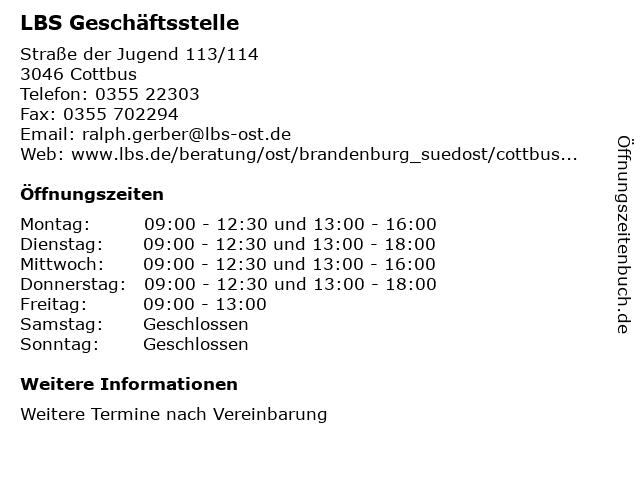 LBS Geschäftsstelle in Cottbus: Adresse und Öffnungszeiten