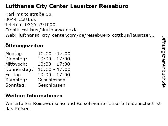 Lausitzer Reisebüro in Cottbus: Adresse und Öffnungszeiten