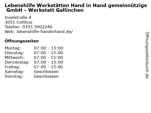 Lebenshilfe Werkstätten Hand in Hand gemeinnützige GmbH - Werkstatt Gallinchen in Cottbus: Adresse und Öffnungszeiten