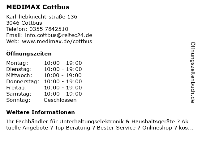 MEDIMAX Electronic Objekt Cottbus GmbH - DHL Paketshop in Cottbus: Adresse und Öffnungszeiten