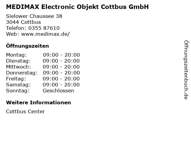 MEDIMAX Electronic Objekt Cottbus GmbH in Cottbus: Adresse und Öffnungszeiten