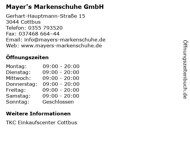 Mayer's Markenschuhe GmbH in Cottbus: Adresse und Öffnungszeiten