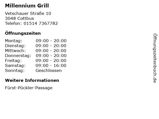 Millennium Grill in Cottbus: Adresse und Öffnungszeiten