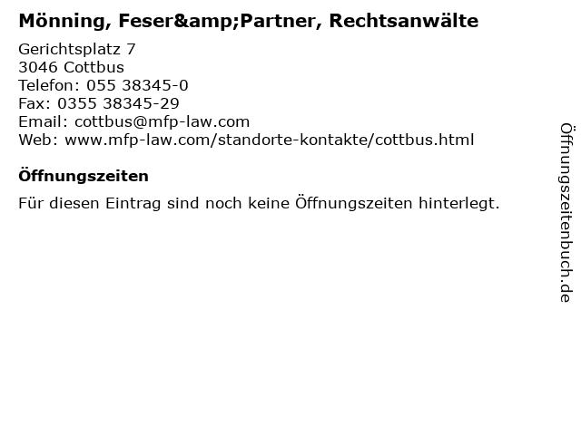 Mönning, Feser&Partner, Rechtsanwälte in Cottbus: Adresse und Öffnungszeiten