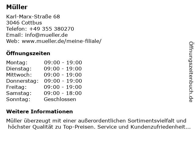 Müller Drogeriemarkt in Cottbus: Adresse und Öffnungszeiten