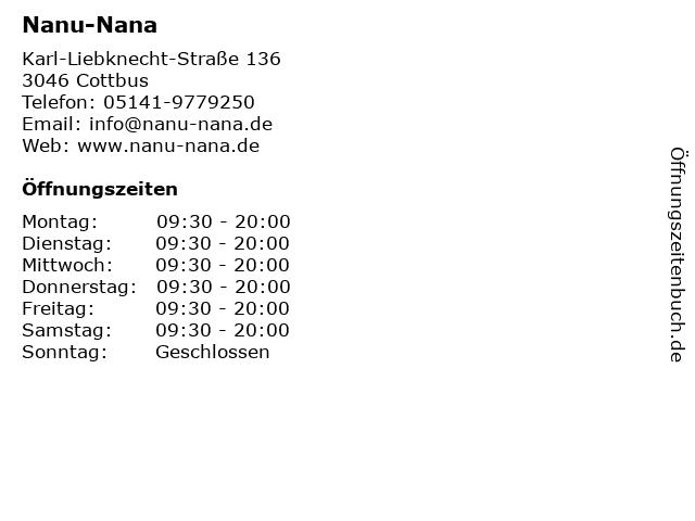 Nanu-Nana in Cottbus: Adresse und Öffnungszeiten
