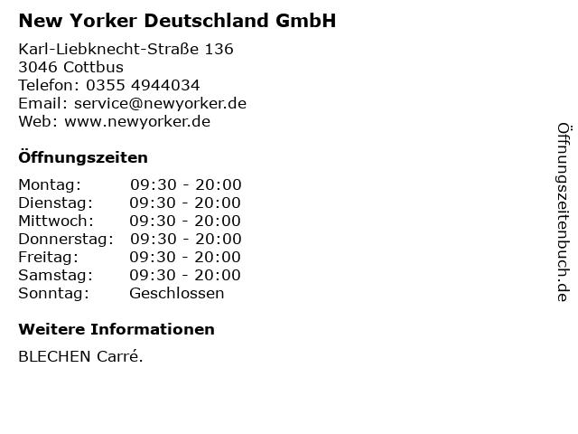 New Yorker Deutschland GmbH in Cottbus: Adresse und Öffnungszeiten
