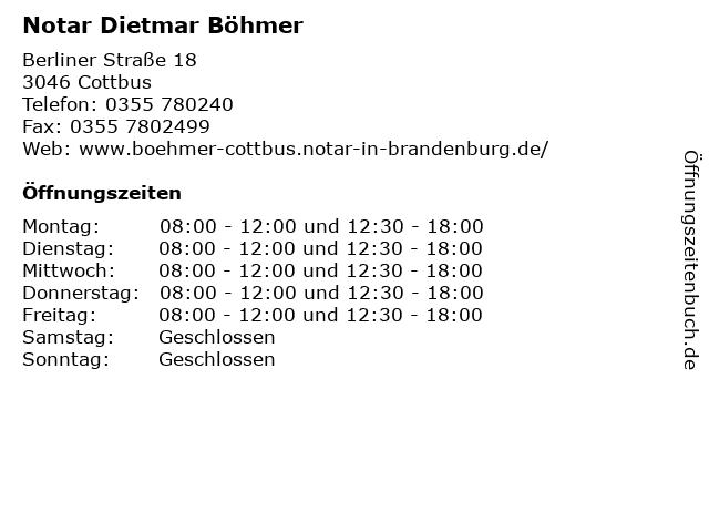 Notar Dietmar Böhmer in Cottbus: Adresse und Öffnungszeiten