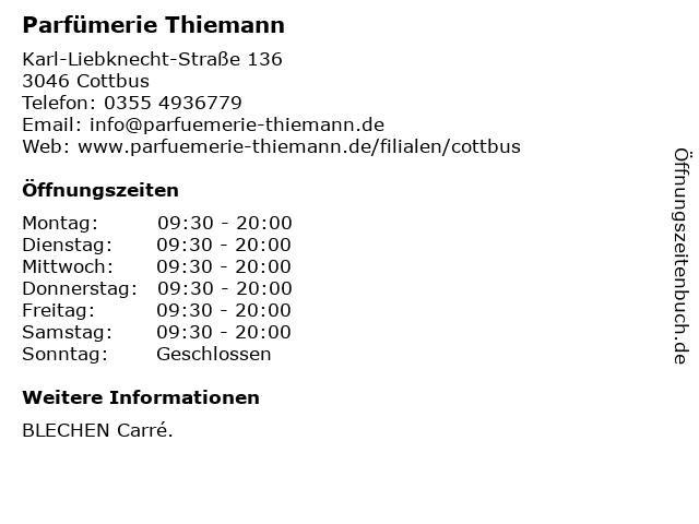 Parfümerie Thiemann in Cottbus: Adresse und Öffnungszeiten