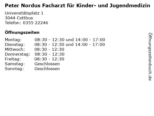 Peter Nordus Facharzt für Kinder- und Jugendmedizin in Cottbus: Adresse und Öffnungszeiten