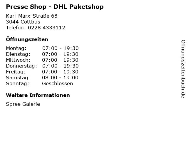 Presse Shop - DHL Paketshop in Cottbus: Adresse und Öffnungszeiten
