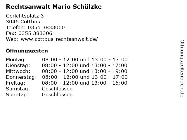 Rechtsanwalt Mario Schülzke in Cottbus: Adresse und Öffnungszeiten