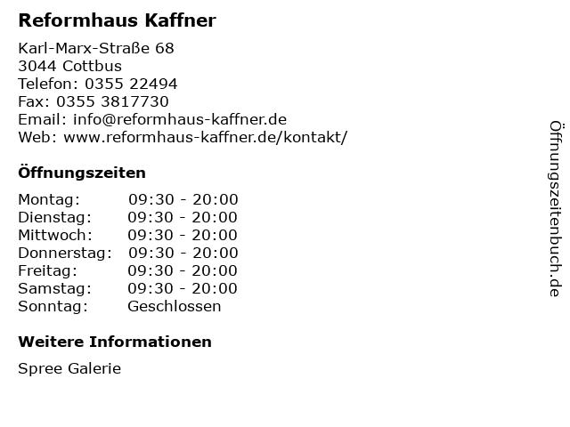 Reformhaus Kaffner in Cottbus: Adresse und Öffnungszeiten