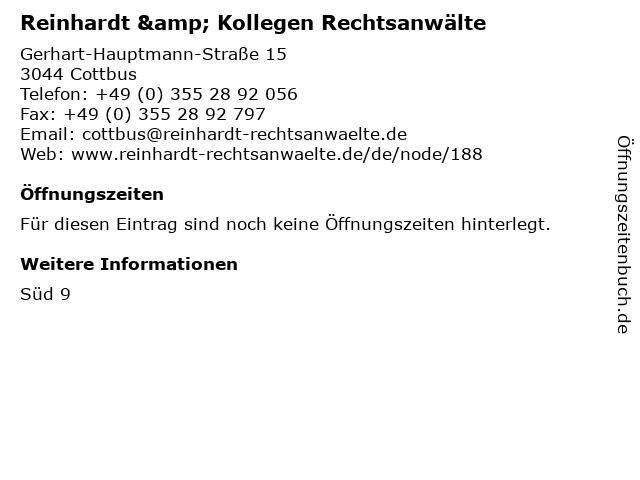 Reinhardt & Kollegen Rechtsanwälte in Cottbus: Adresse und Öffnungszeiten