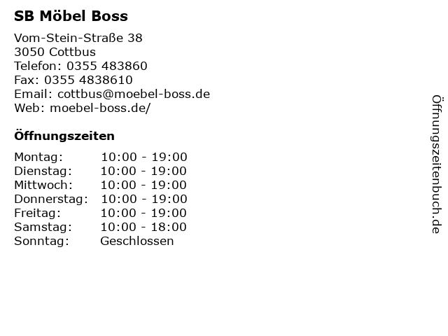 ᐅ öffnungszeiten Sb Möbel Boss Am Gewerbepark 38 In Cottbus