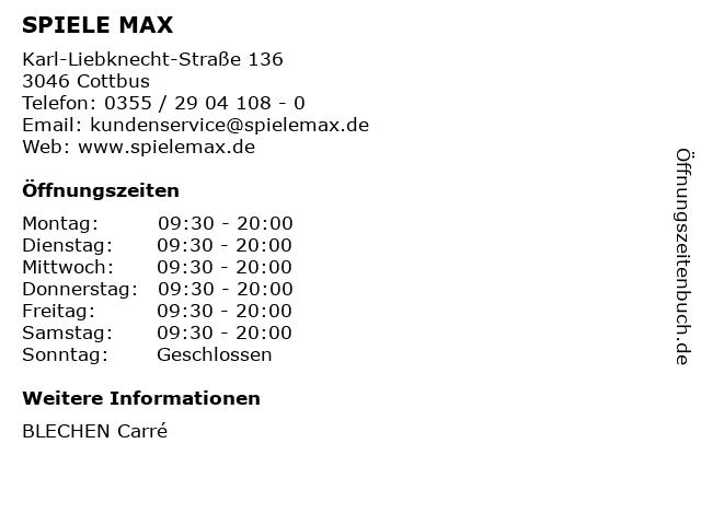 SPIELE MAX AG in Cottbus: Adresse und Öffnungszeiten