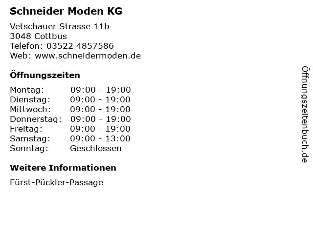 Schneider Moden KG in Cottbus: Adresse und Öffnungszeiten